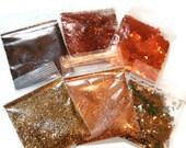 NEW!! Metallic Solvent Resistant Glitter Sampler Set of 6 Copper, Bronze and Metallic Glitters for Glitter Nail Art and Glitter Crafts
