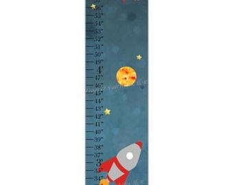 Outer Space Rocketship Canvas Growth Chart Print
