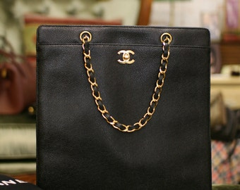SALE Vintage Chanel Black Caviar Tote Bag