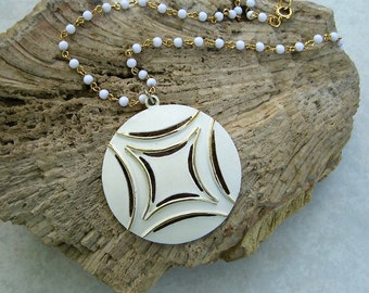 Vintage White Enamel Pendant Necklace White Bead Chain