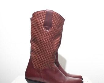 40% Off Sale 8 M | Women's DINGO Basket Weave Brown Leather Mid Calf Boots