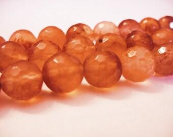 Jade Beads Orange Faceted Round 10MM