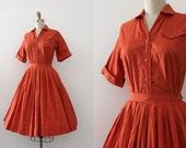 vintage 1950s dress // 50s orange two piece cotton dress set