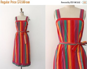 SUMMER SALE vintage 1970s wrap dress // 70s striped colorful day dress