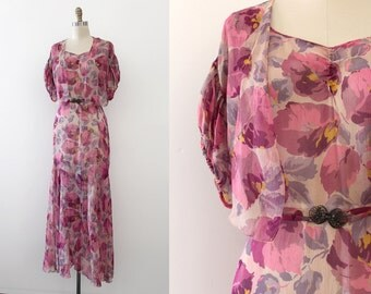 vintage 1930s gown // 30s silk sheer floral gown with jacket and belt