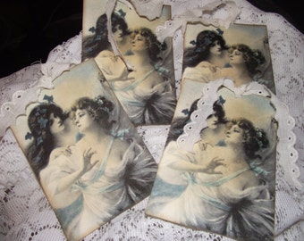 Set of Four Shabby Vintage Ladies Gift Cards Adorned With Scallop Fabric Ribbon Tie