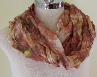 Ready to Ship Desert Rose Hand Dyed Silk Scarf / Silk Habotai Lightweight Brown Scarf / Waldorf Play Silk / Holiday Gifts Under 25