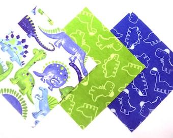 "36 Flannel Fabric Pre Cut 6"" x 6"" Squares in a Fun Dinosaur, Dinosaur, Dinosaur Flannel Rag Quilt Kit"