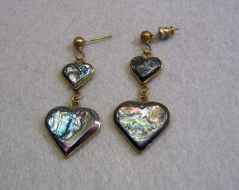 Vintage Heart Shaped Abalone Shell Dangle Pierced Earrings
