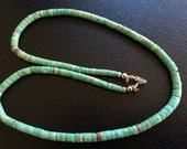 Native American Turquoise Heishi Disc Bead Necklace