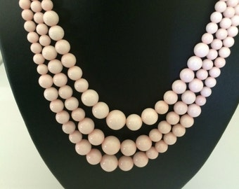 RESERVED Pink Blush Gorgeous Graduated Size Three Layer Glass Beads With Decorative Gold Plated Clasp