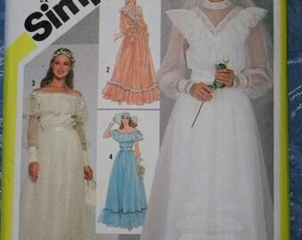 Vintage 1981 Gunne Sax Ltd Jessica Wedding Dress Bridesmaid Simplicity Sewing Pattern 5217 Size 12