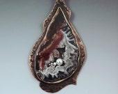 Geode Pendant- Druzy- Crystals- Agate- Smoky Bronze- Mixed Metal- Metal Art Necklace