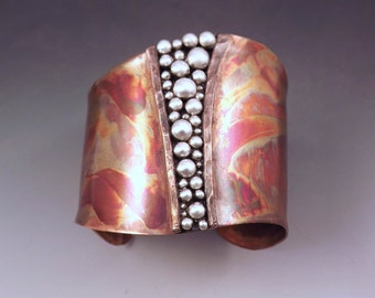 Copper Cuff- Powerful Goddess- Tribal Rustic Earthy- Boho Chic- Warrior- Mixed Metal- Signature RedPaw- Statement Cuff Bracelet