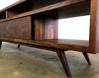 "The ""porkchop"" is a mid century modern, danish modern TV console, TV stand, credenza,"