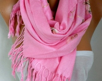 Pink Embroidered Scarf,Summer Shawl, Oversized, Bridesmaid Gift, Bridal Accessories, Gift Ideas For Her, Women Fashion Accesssories