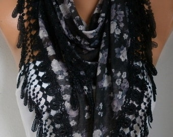 Black Floral Printed Scarf Shawl Summer Cotton Scarf Cowl Scarf Gift Ideas For Her Women Fashion Accessories Scarves