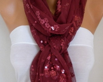 Burgundy Sequin Tulle Scarf,Wedding Scarf, Bohemian,Cowl Bridesmaid Gift,Bridal Scarf,lace, Gift Ideas for Her Women Fashion Accessories