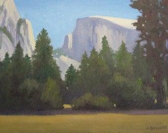 Half Dome Yosemite Valley California Landscape Original Oil Painting Modern Impressionist 12x16 Canvas Jennifer Boswell