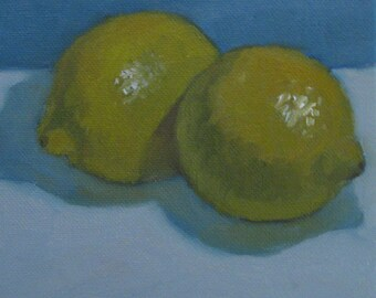 "Lemons Kitchen Still Life Original Oil Painting Modern Impressionist Plein Air 6x6"" Canvas Jennifer Boswell"