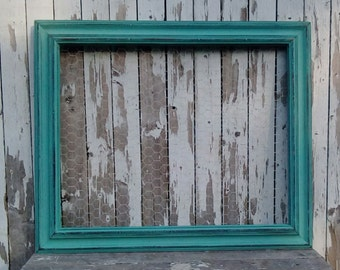 Large Chicken Wire Frame, Aqua Frame, Rustic Cottage, Beach Cottage, Wall decor