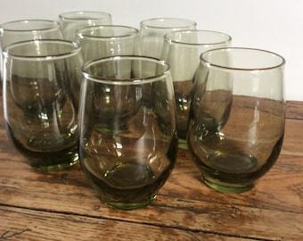 Vintage Bottle Green Juice Glass Set / Avacado Green Juice Glass