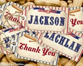 Vintage Baseball Party Tags - INSTANT DOWNLOAD - DIY Editable & Printable Birthday Decorations by Sassaby
