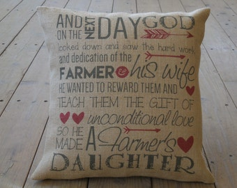 Farmer's Daughter burlap Pillow | Farmhouse Pillows | French Country | INSERT INCLUDED