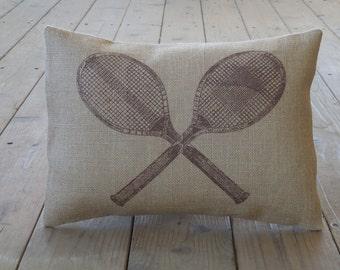 Vintage Tennis Burlap Pillow, Sports, Tennis, INSERT INCLUDED