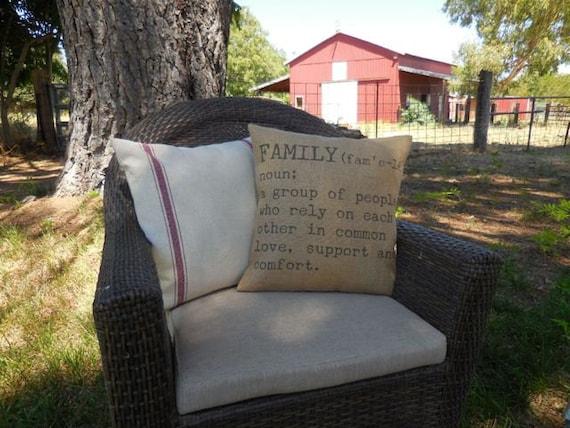 Family definition burlap pillow rustic farmhouse shabby for Shabby chic definition