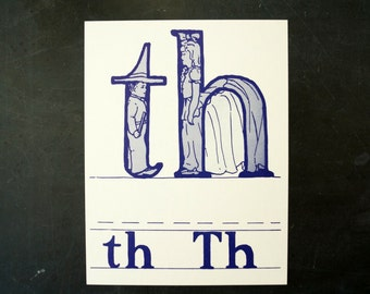 "Vintage Letters ""TH"" Flashcard / Phonics Card, 7"" tall (c.1958) - Collectible, Altered Art Ephemera, Home Decor, and more"
