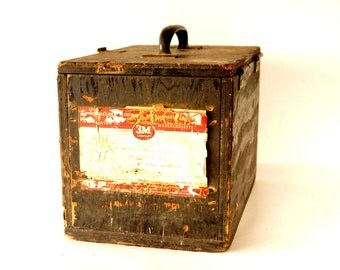 Vintage Wood Box with Lid, Handle and 3M Label (c1950s) - Industrial Storage Crate, Wood Tool Box