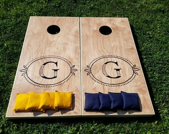 Wedding Show Sale ~ Simple Monogram Wedding Cornhole Board Set with Bags for Your Wedding Reception -  Yard Game Backyard Rustic Party Fun