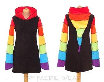 Rainbow Fleece Arabelle top/dress(mini length). 6 stripe positively pixie hood / 6 stripe sidhe sleeves