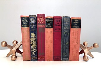 Antique Hardcover Book Collection / Books for Decoration / Boho Decor / Instant Library / Cottage Chic / Rustic Wedding / Vintage Book Decor