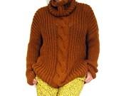 Mustard Textured Turtleneck Sweater.
