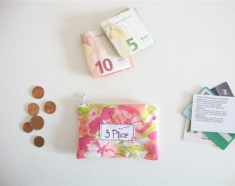 Coin Purse, Bright Floral Zipper Pouch for Cards and Coin, Zipper Coin Purse, Mini Zipper Wallet, Eco Friendly, Made in Europe, by 3 Ptice
