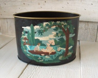 Vintage metal tin paint by number romantic scene black plant holder