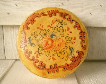 Vintage box paper mache Made in Japan round floral embossed design 1930s