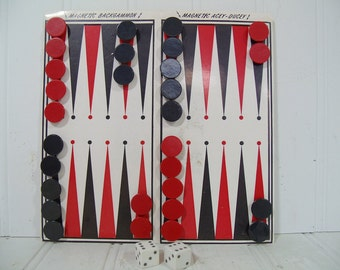 Vintage Magnetic Backgammon & Acey Ducey Travel Remotrol Game - Retro Red and Black 32 Pieces Pocket Set with Folding Board and Instructions