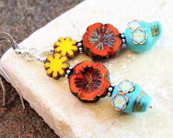 Sugar Skull Sterling Earrings, Turquoise with Red & Yellow Flowers, Skulls with Flower Eyes, Skull Jewelry, Halloween Earrings, Day of Dead