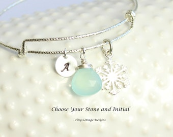 Sterling Silver Winter Wonderland Bangle Bracelet... Choose Your Birthstone and Personalized Initial