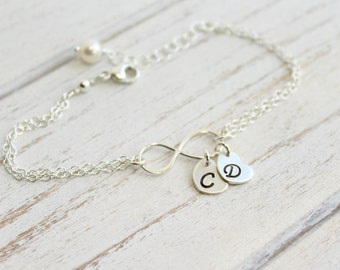 Sterling Silver Infinity Bracelet with Initials -- You Choose How Many Initials