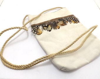 small off white pouch purse feathers, southwest SW primitiive western, handmade
