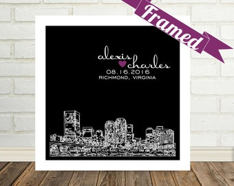 New york skyline wedding gift personalized nyc poster print richmond skyline engagement gift personalized richmond art framed print richmond va any city worldwide newly engaged negle Images