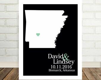 Wedding Gift Arkansas Map Arkansas Print Arkansas Poster State Map Print State Map Art Holiday Gift Valentines Day Gift for Him
