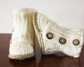 RESERVED - Newborn Button Booties and Mittens