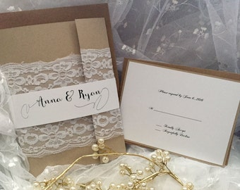 High end Lace wedding Invitation suite