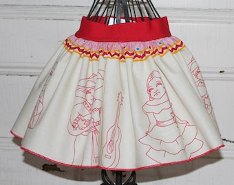 Cinco De Mayo Skirt/Mexican Skirt/Spanish Skirt/Girls Size 2T Skirt/Colorful Skirt/Twirl Skirt/READY TO SHIP