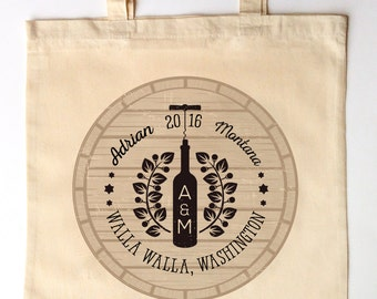 Vineyard Winery Wedding Guest Totes - Custom Printed Wedding Guest Canvas Tote Bags - Winery Tour Tote
